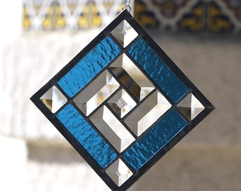STAR QUILT-Abstract Stained Glass Suncatcher, Sun Catcher, Stained Glass, Stain Glass, Clear Bevels, Sky Blue, Stars, Quilt, Ready to Ship