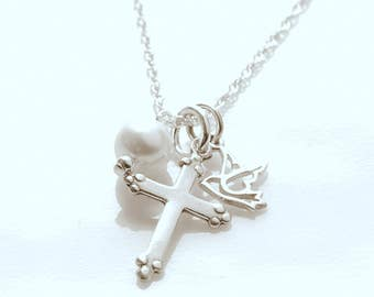 Religious Jewelry - First Communion Necklace - Cross, Peace Dove, Personalized Pearl/Birthstone Charm