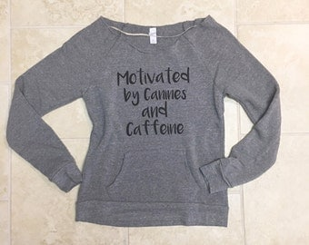 Off the shoulder sweatshirt, workout, gift for her, dog lover gift, Canines and Caffeine, cozy sweater teen, dogs coffee, girlfriend gift