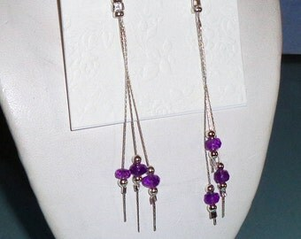 Amethyst Long Dangle Asymmetrical Earrings Sterling Silver Chain French Wires