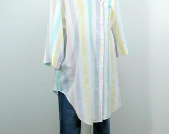 Big 80s Shirt, Vintage Cotton Long Shirt, Oversize Pastel Stripe Button Down Collared Shirt with 3/4 Sleeves, Lightweight Summer Shirt