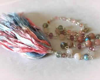 Beaded Boho Tassel & Gemstone Necklace. Sari Silk Blue and Pink Ribbon