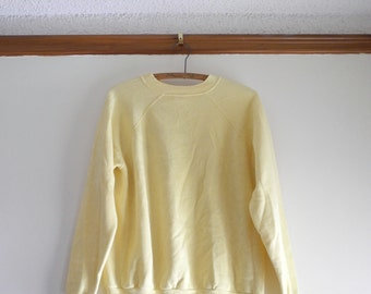 Classic 70s / 80s RAGLAN lemon yelllow 50/50 sweatshirt sz. Medium / Large UNISEX