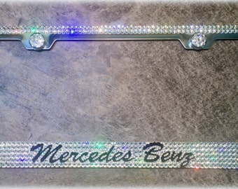 Mercedes Benz License Plate Frame made with Swarovski Crystals - Mercedes Car Jewelry