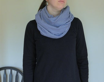 Organic Cotton Navy White Stripe Infinity Scarf Fair Trade Made in the USA