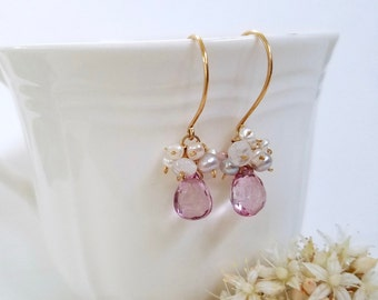 Sweet bridal earrings - Sparkly pink and gold earrings with pearls, party jewelry, gold womens earrings, wedding jewelry, by Tide pools