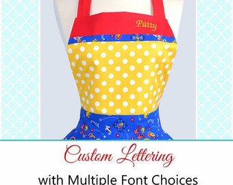 Personalized Custom Embroidery Lettering on Aprons (Embroidery Only) - Purchase Apron Separately