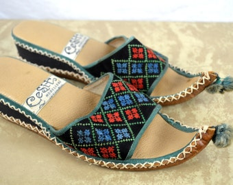Vintage Ethnic Boho Summer Sandals - Turkish Leather Slippers Shoes - Istanbul