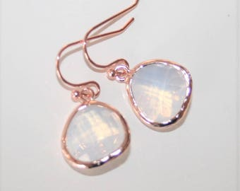 White Opal earrings in Rose Gold,Rose Gold Earrings,Moonstone earrings,White Drop Earrings,Bridal Earrings,Bridesmaid Jewelry - Gift to Her