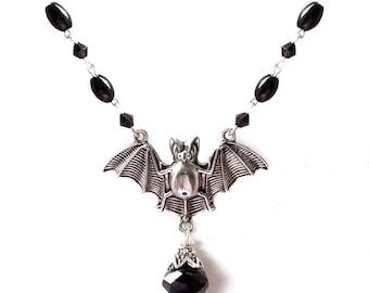 Gothic victorian silver bat necklace with black gems and swarovski crystals halloween