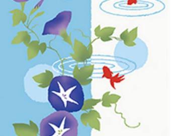 Japanese Tenugui Towel Cotton Fabric, Hand Dyed Fabric, Morning Glory, Floral, Flower, Goldfish, Modern Art Fabric, Wall Decor, Scarf, h584