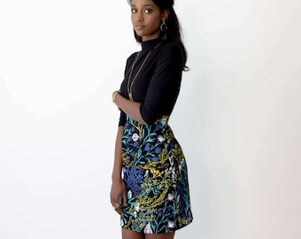 Pleated Pencil Skirt - Hand Printed - Organic Cotton - Summer Wedding -Slow Fashion - Wandering Floral in Black - Thief and Bandit®