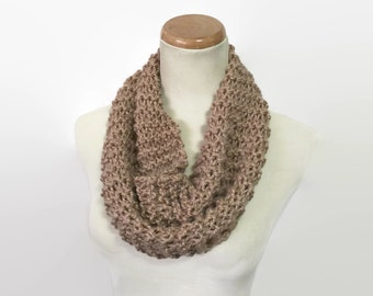 Cyber Monday Sale, Knit Scarf, Knit Cowl, Circle Scarf, Neck Warmer, Gift For Her, Brown Cowl, Camel Scarf, Fashion Accessory, Winter Scarf