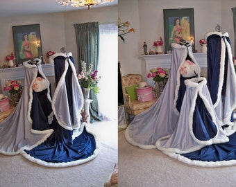 Victorian Princess 52/96-inch Bridal Cape Silver / Navy-Blue Satin Wedding Cloak Reversible Hooded With Fur Trim Handmade in the USA