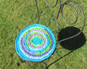 "rag rug chair pads Set of 2 round, crochet ""braided"" chairpads, boho chic, shabby chic, at home on the porch #60"