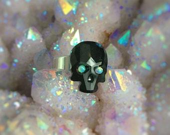 Skull ring with opal eyes, black Crystal skull, adjustable ring