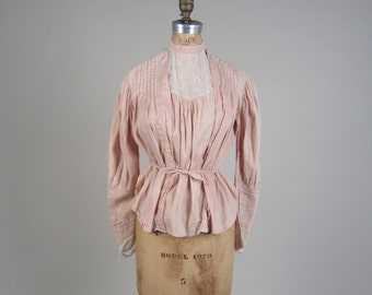 1910s cotton and lace blouse • antique Victorian top • blush pink shirt