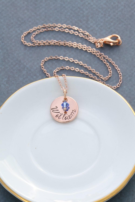 rose gold custom name necklace personalized rose by. Black Bedroom Furniture Sets. Home Design Ideas