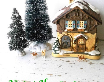 Woodland Rustic Christmas Ceramic House .Bavarian Style House. Hummel Lit Village House Collectible