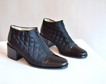 Vintage STEPHANE de RAUCOURT quilted leather shoes / 6