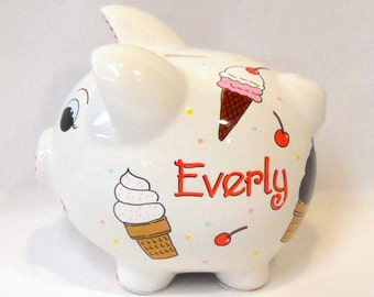 Personalized Piggy Bank With Ice Cream Cones