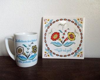 Vintage Swedish Berggren Trayner Tile and Mug Set Var Sa God and Kaffetaren Den Basta Ar...