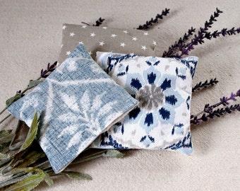 Denim Blue and Tan - Lavender Drawer Sachets - Blue Damask - Tan Stars - Lavender Sachet Set - Hostess Gift