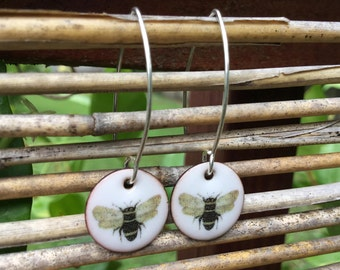 Hand Made Enamel Bumble Bee Earrings, Torch Fired Enamel, Sterling Silver, Nature Inspired