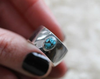 Unisex Nevada Number Eight Turquoise Ring - Sterling Silver - Made to order in your size