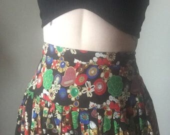 S/M 90s baroque inspired gold jewel print ultra high waist mini skater flared silk skirt