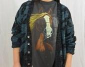 Vintage Oversized Cardigan, Slouchy Cardigan, Size XS-Medium, Hipster, Comfortable, 80's Clothing, Punk, Tumblr Clothing