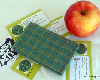 Green plaid ID wallet  business card holder reuse vegan cotton green and yellow plaid with medium green llining