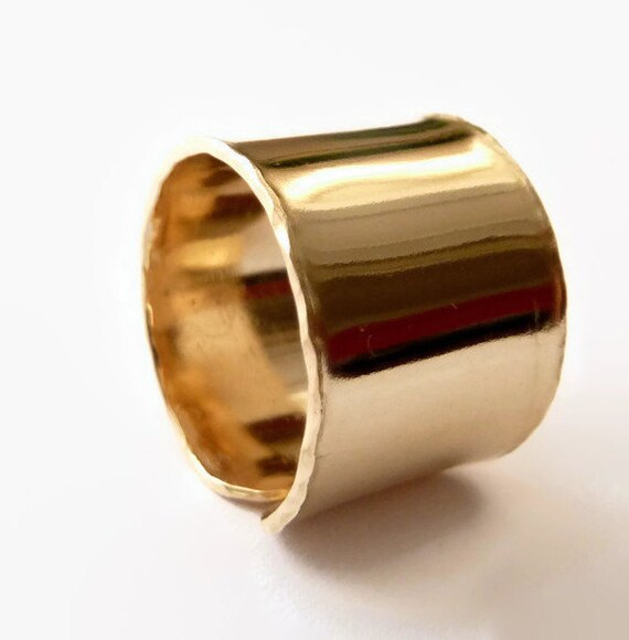 Wide Gold Flat Band Ring, Statement Ring, Valentine's Day Gift, Unisex Ring, Cigar Band Ring, Handmade Rings,