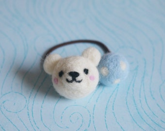 Needle Felted Hair Tie (Polar Bear)