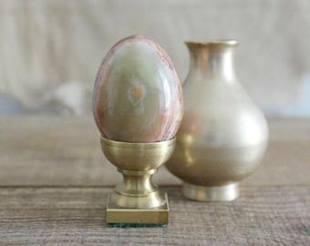 Vintage Polished Stone Egg On Brass Display Stand