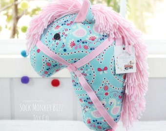 Child's Stick Horse, Handmade Ride-On Hobby Horse Toy, Flutterberry Blue