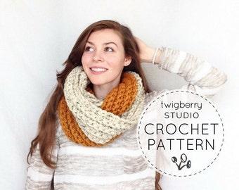 Crochet Scarf PATTERN, Chunky Cowl Pattern, Crochet Cowl Pattern, Crochet Infinity Scarf Pattern, Crochet Ribbed Scarf Pattern, Fall Scarf
