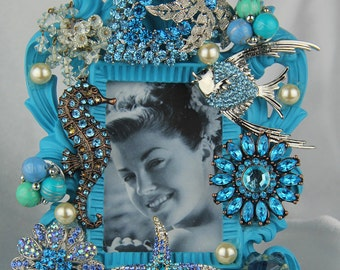 Jeweled Turquoise Blue, Ocean, Sealife Themed  Picture Frame with Blue Crystal, Rhinestone, All Occasion Gift