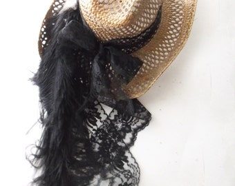 Vintage Western Bridal Hat. Rodeo Western Riding Hat. Straw Cowgirl Hat. Black Lace Ribbons. Ostrich Feathers. Boho Shabby Festive Wear
