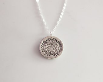 Chi Omega Crest Necklace in Silver // Crest Necklace // Chi O Jewelry