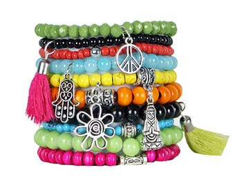 Beaded Bracelets Set of 10 Stretch Bracelets Bohemian Free Spirited Themed Stack with Silver Tone Charms and Tassels