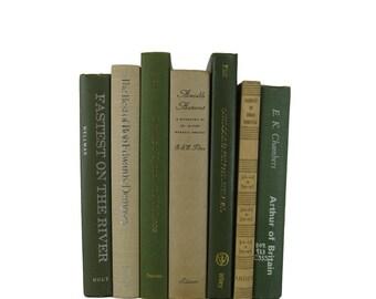 Green Tan Decorative Books , Green Vintage Books , Home Decor , Old Books , Vintage Photo Props , Table Setting , Wedding Decor