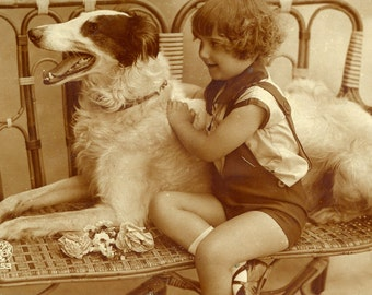 1927 Vintage Dog Postcard - Made in France -  Dog with Young Boy Postcard