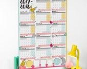 Large 2017 2018 Academic Wall Calendar And Year Planner - Teacher planner - student wall planner - Academic Diary - teacher calendar