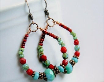 beaded hoop earrings, aqua red, copper hoops, boho, bohemian, gypsy