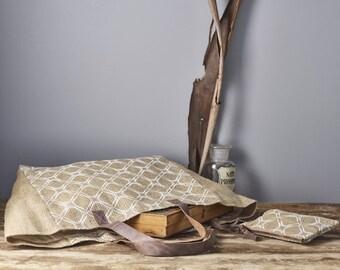 Eco friendly Tote bag, Women's Shoulder bag, Jute handbag, resort bag Burlap Market bag
