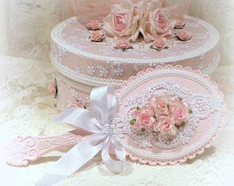 Pink Handheld Mirror, Vanity Mirror, Shabby Chic Hand Mirror, Ornate Hand Mirror, Shabby Chic Decor, Victorian Decor, Romantic Home Decor