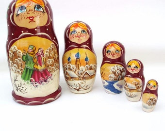 Vintage Wood Boxes | Nesting Dolls | Wood Dolls | Russian Dolls | Wooden Matryoshka | Set of 5