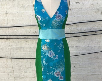 Green and Turquoise Mixed Media Silk Sheath Dress