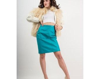 Vintage Mongolian lamb coat / White leather chubby bomber / Fur vest